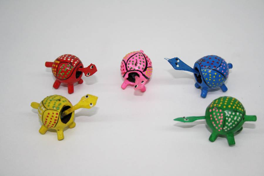 Conjunto de 5 tortugas de colores,cabeza movible